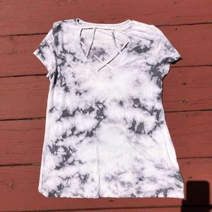 American Eagle Tie Die Ribbed T shirt with cutouts